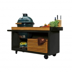 OFYR Big Green Egg Table PRO Black mit Teakholz Platte