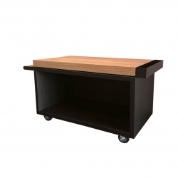 OFYR Mise en Place Table Black PRO 135 mit Teakholz Platte